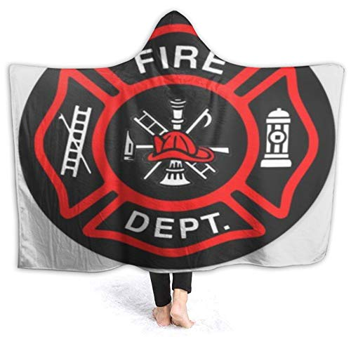 MIGAGA Hoodie Blanket Warm Flannel,Firefighter Black and Red Logo Classic,Soft Wearable Throw Blankets 50'×40'
