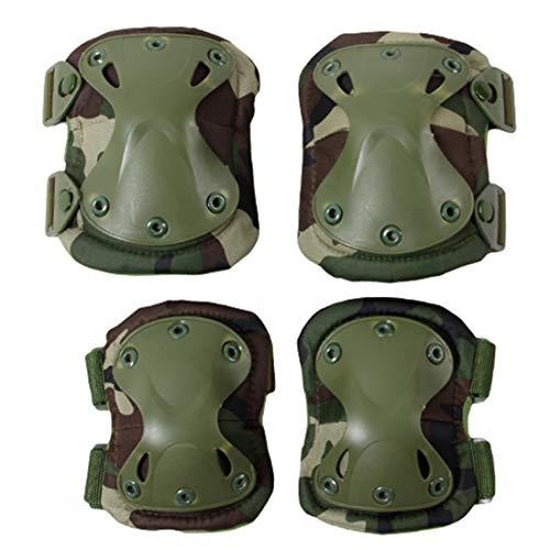 BAIGIO Taktisch Knieschoner Ellenbogenschützer Militär Protektoren Set Knieschützer für CS Paintball Jagd Airsoft (Grün)