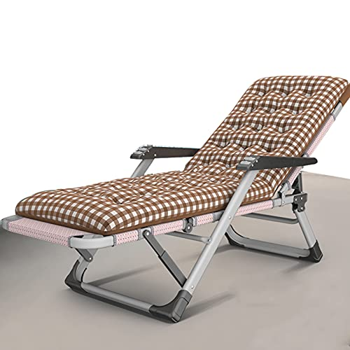 Massage-AED Tumbona Plegable con Cojin para Adultos, Tumbonas Tumbonas Reclinables para Exteriores Silla Resistente, Silla De Jardín Reclinable Plegable