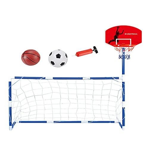 Juego de portería de baloncesto 2 en 1 para niños con canasta de baloncesto de interior, material de PVC, protección del medio ambiente, sin sabor, adecuado para hierba, playa, patio trasero, interior