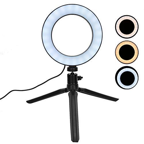 Anillo de luz LED de 6.3 '' con trípode, anillo de luz LED regulable de 3 colores para fotografía/maquillaje/vlogging/transmisión en vivo