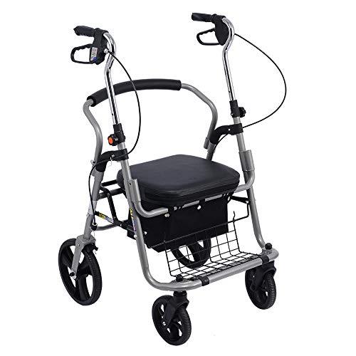 ZHHB Rollator Faltbar Walker, Senioren 4-Rad-Rollator Mit Gepolstertem Sitz Und Einkaufskorb, Höhenverstellbare Mobilitätshilfe, Für Kofferraum, Reise Und Flug