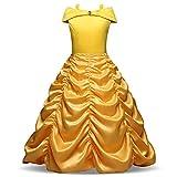 Yigoo Mädchen Kostüm Belle Prinzessin Kleid Party Kinder Cosplay Plissee Kleidung Festival...