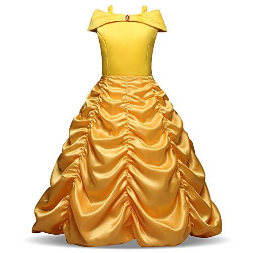 Yigoo Mädchen Kostüm Belle Prinzessin Kleid Party Kinder Cosplay Plissee Kleidung Festival Hallween Karnerval 120