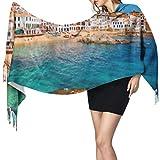 Bufanda cálida para mujer, chal largo, paisaje marino, calella de Palafrugell, Cataluña, grande, suave, imitación de cachemira, pashmina, chales, bufanda, borla