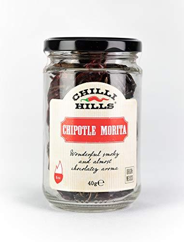 Chilli Hills chiles deshidratados CHIPOTLE MORITA. Los mejores chiles y los más picantes, cultivados en nuestro huerto familiar y deshidratados a conciencia para conservar su sabor. 40 gramos