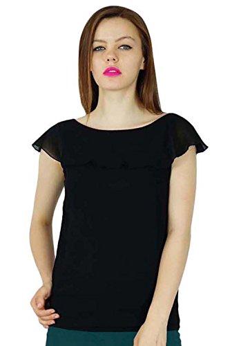 Bimba Frauen-Schwarz-Georgette benutzerdefinierte Top Kurzschluss-beiläufige Bluse