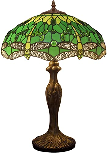 KFJZGZZ Lámpara de mesa estilo Tiffany de 24 pulgadas de alto vidrieras pantalla cristal grano antiguo zinc base para sala dormitorio aparador estantería