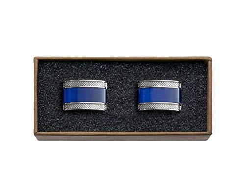 VALDERO® Herren Manschettenknöpfe - Men's Essentials in Box (Blau Perlmutt Schwarz) (1 Paar - Silbernes Metall, Blauer Stein)