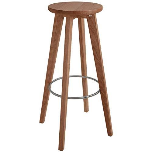 VEGA 10008473 Barhocker Rotondo, 37x37x80 cm (BxTxH), Sitz eiche/tabak gebeizt, Gestell tabak, 2 Stück