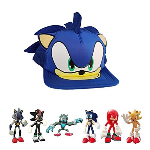 Sonic Hiphop Hut Actionfigur Sonic der Igel Super Anime Figur Sammlerstück Spielzeug Geschenkset