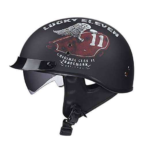 FANGJIA-Helmet Casco Moto Jet Abierto Retro con Visera Dot Homologado Medio Casco Scooter Ciclomotor Cascos Bicicleta Confortable Casco Moto Jet para Mujer y Hombre,Adultos