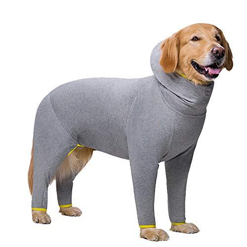 Ropa para perro, pijama para mascotas, ropa de dormir, elástica, antipolvo, de cuatro patas, ropa para perros medianos, perros grandes (38, gris)