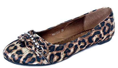 Unbekannt Damen Schuhe Leoparden Ruffle Leomuster Flats Ballerina Braun Ballerinas 36