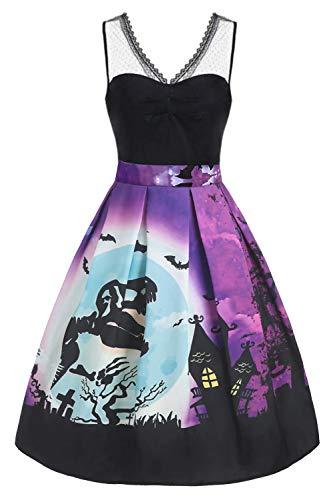 Hotelvs Vestido de Halloween Mujer 1950s Pin Up Vintage Retro Cóctel Rockabilly Vestidos