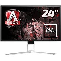 AOC AGON AG241QX Monitor Gaming da 23,8´´, QHD, 2560 x 1440, 144 Hz, 1 msec, Speaker, D-Sub, 2 X HDMI, DP, 4 Porte USB, Nero
