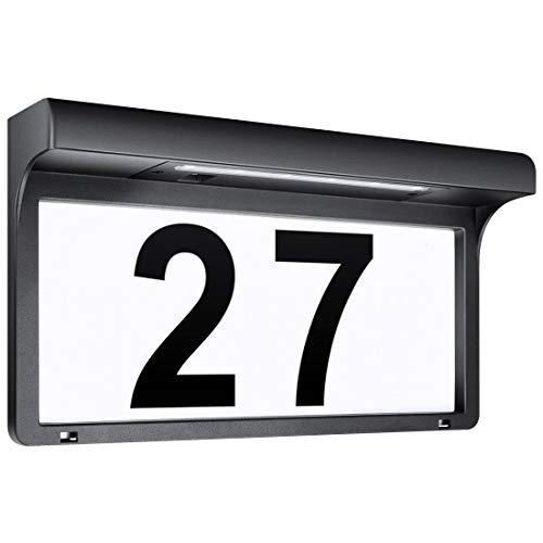 LeiDrail Solarhausnummer Hausnummer LED Solarleuchte Solar Außenwandleuchte Hausnummernleuchte Wandleuchte Hausnummernschild Beleuchtet Hausnummer Schild Wetterfest -Metall (31.5 x 17.5 cm)
