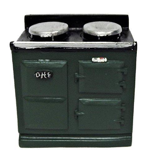 Melody Jane Dollhouse 2 Oven Green Aga Stove 1:12 Miniature Kitchen Furniture