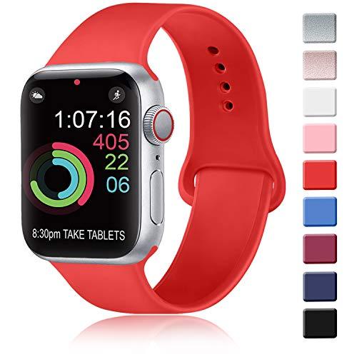 AK Correa para Apple Watch 44 mm 42 mm 38 mm 40 mm, Correa de Silicona Deportiva para Mujer y Hombre Correa para iWatch Series 5 4 3 2 1 (42mm/44mm-M/L, 10 Naranja Rojo)