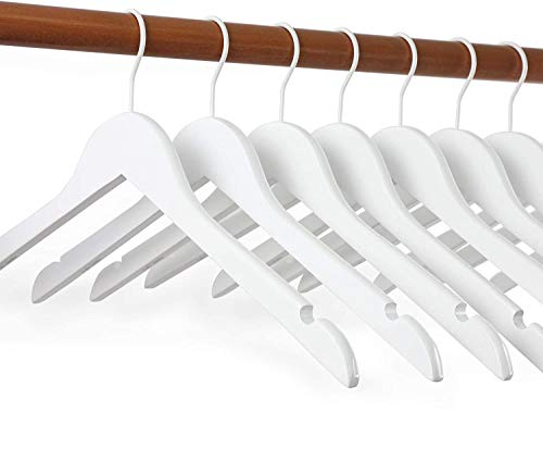 TOPIA HANGER White Wood Bridal Dress Hangers Premium Wooden Shirt Hangers 10 Pack 360° White Hook- Smooth Finish- Extra Smoothly Cut Notches White10-CT06W
