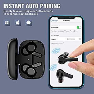 True Wireless Earbuds,Lanteso Waterproof TWS Bluetooth Earbuds with Mics Noise Reduction Touch Control Bluetooth Headphones with Clear Bass Sound in Ear Earphones for Sports,Home Office