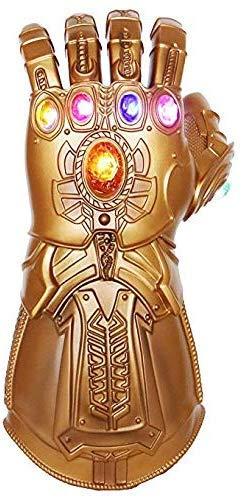 UrMsun Iron Man Infinity Gauntlet para niños con 2 pilas recambio, Iron Man Glove LED con piedras para niños