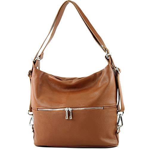 modamoda de - T189 - ital. Damen Rucksack Tasche 2in1 aus Leder, Farbe:Cognac