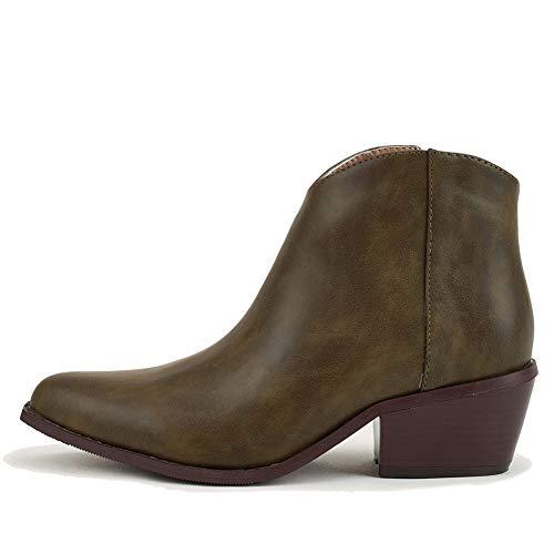 Zoducaran Mujer Botines Stacked Heel Clásico Western Booties Cremallera Basel Botas Retro Cosplay Shoes...