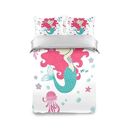 Juego de edredón de 3 piezas con fundas de almohada Hermosas conchas marinas de sirena y ropa de cama de peces Juego de funda nórdica Suave y cómoda Colcha de almohada para niños y niñas adolescentes