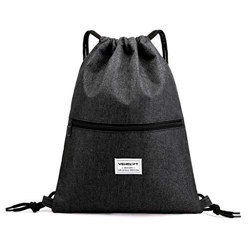 Riou Herren Damen Sport Rucksack wasserdichte Reißverschluss mit Tunnelzug Praktische Tasche Schulrucksack