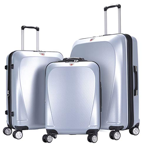 GinzaTravel Widened and thickened large capacity PC Material Luggage 3 Piece Sets Lightweight Spinner Suitcase Luggage Expandable(all 20 24 28)
