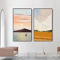 ボートの雲風景壁アートパネルスカンジナビアの風景キャンバス絵画インテリア抽象的な海景ポスターリビングルームの装飾のための画像を印刷60x100cmx2フレームなし