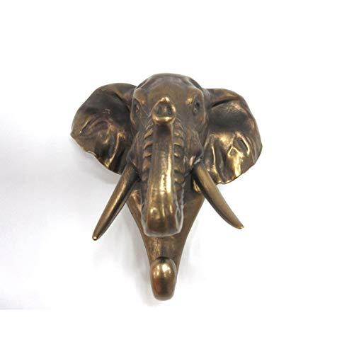 Wild Animal Head único gancho de pared colgadero Animal Forma Rústico Bronce sintética decorativo para la pared escultura, Elefante, 1