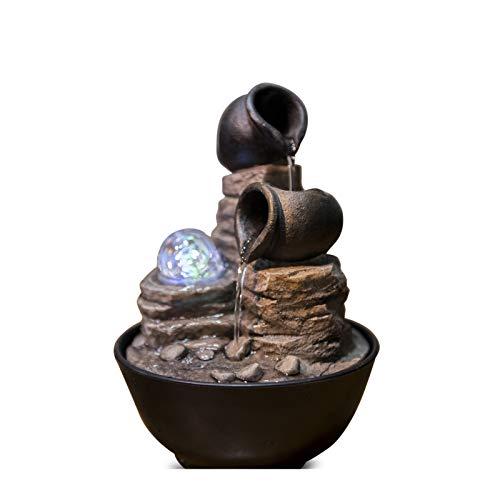 Zen'Light Verso Fontaine d'Intérieur, Résine, Bronze, 17 x 17 x 25 cm