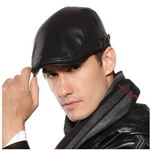 Men Women Vintage Leather Beret Flat Cap Gatsby Newsboy Driving Ivy Hat (Black)