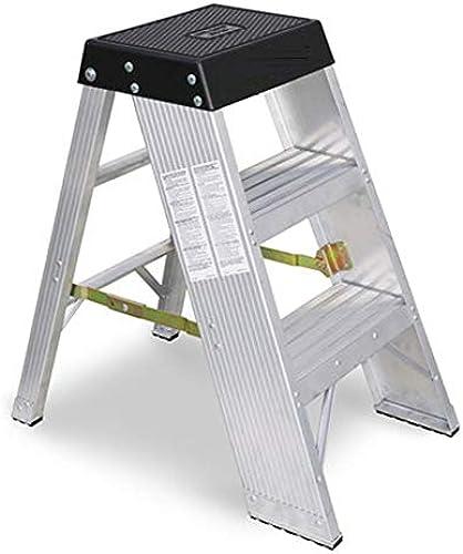 RMJAI Aluminium 3 Trittleiter Faltbarer, rutschfester, leichter Plattform-Hocker Klappbarer Trittleiter-Schritt-Hocker mit Doppelseiten-rutschfestem und breitem Pedal für die Hausarbeit   12.2x5.9x24.