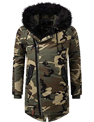 Marikoo Herren Winter Mantel Winterparka Osaka (vegan hergestellt) Camouflage Gr. XXL