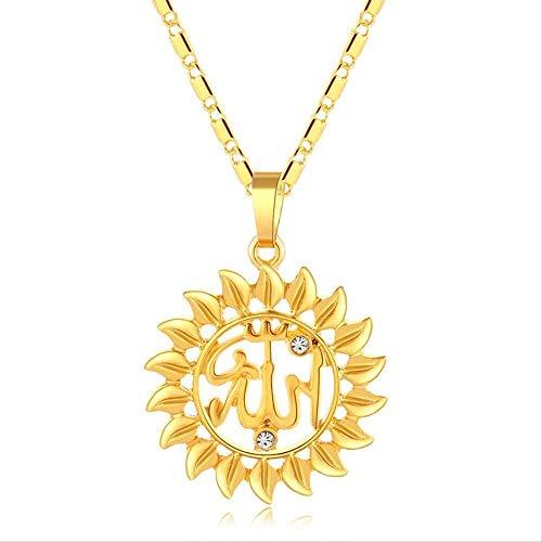 NC110 Collar con Colgante para Mujer, Color Dorado, Cristal, Redondo, Sol, Collar religioso, joyería, YUAHJIGE