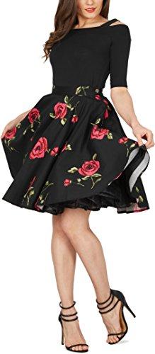 Black Butterfly Floral Rockabilly 1950er-Jahre Swing Tellerrock (Schwarz – Große Rote Rosen, EUR 46 – XXL) - 4