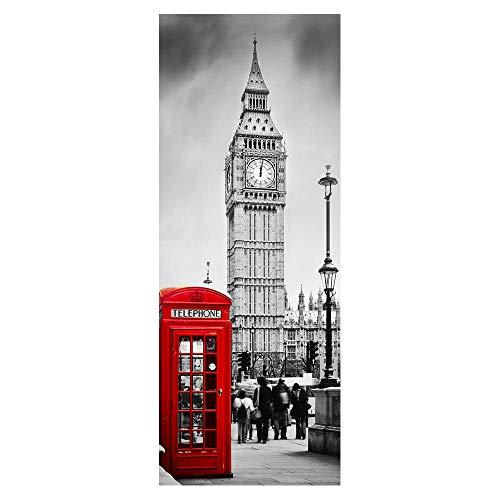 Etiquetas engomadas de puerta Cabina de teléfono del reloj de Londres DIY Autoadhesivo Impermeable calcomanía de Vinilo extraíble para la Puerta para la Oficina Dormitorio Decor 77x200cm
