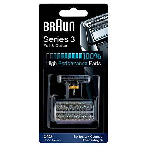 Braun 31S Testina di Ricambio per Rasoio Elettrico Uomo, Compatibile con i Rasoi della Serie 3, Argento