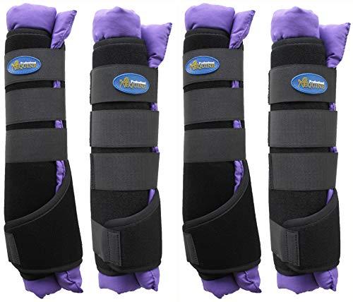 Professional Equine Horse Stable Shipping Boots Wraps Front Rear 4PK Purple Leg Care Purple 4120PR