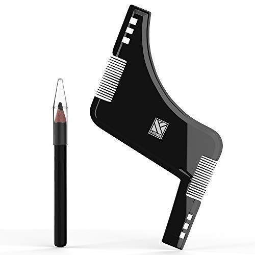 K-Brands Bart Schablone | Bartpflege Set für Männer | Zubehör für Bart Styling und Pflege | Pflegeset mit Bartschablone, Stift und Kamm für Herren