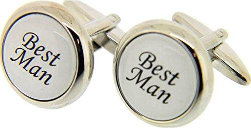 David Van Hagen Argent/Blanc Meilleur homme boutons de manchette de
