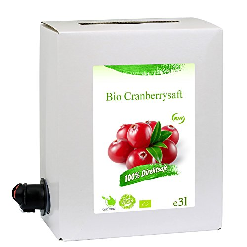 GutFood - 3 Liter Bio Cranberrysaft - Bio Cranberry Saft in praktischer Bag in Box Packung ( 1 x 3 l Saftbox ) - Muttersaft aus Bio Cranberries Erstpressung