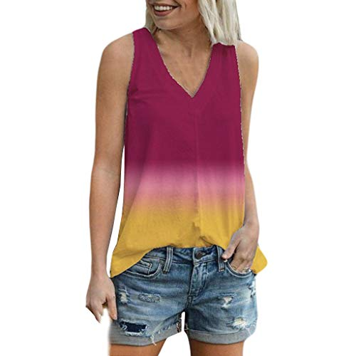 Dosoop Women Vest Tie Dye Gradient Graphic Summer T Shirt Casual V Neck Sleeveless Tunic Tee Soft Comfy Tank Top Camisoles