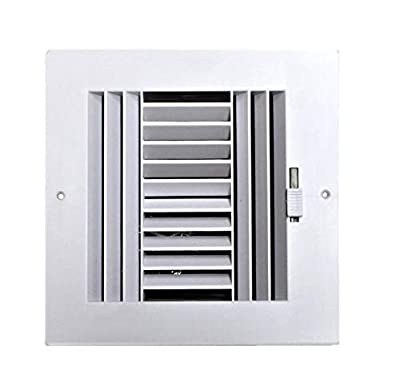 """HBW Four-Way Plastic Side Wall/Ceiling Register in White 6"""" w X 6"""" h for Duct Opening (Outside Dimension is 8"""" w X 8"""" h)"""
