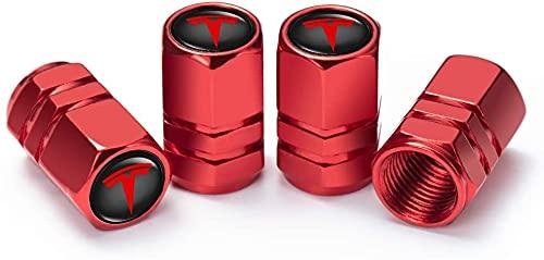4 Piezas Tapas de Válvula de Neumáticos de Coche para Tesla Roadster Model S Model X Model 3, Anti Polvo Resistente Agua Tapas para Válvulas Decoración Accesorio