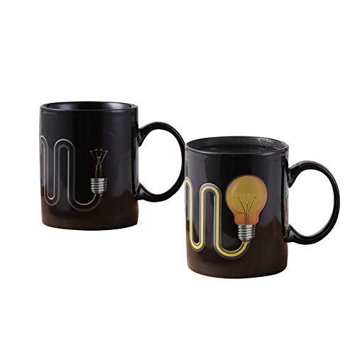 Hosoncovy Taza de café mágica que cambia de calor con mango bombilla que cambia de color, lámpara que cambia de color, taza que cambia de calor, taza sensible