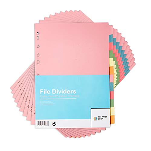 [10 Stück] Ordner Register DIN-A4 Farbig 12-teiliges | Trennblätter für ordner DIN-A4 | Register für ordner A4